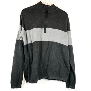 Steve & Barry's 3/4 Zip Up Black & Gray Sweater